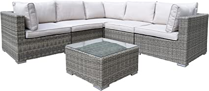 Ice Cooler Carts Borneo Modular All Weather Resin Wicker Sectional Zipper 6 Piece Deep Seat Set With Coffee Table And Pillows Earth Tone Garden Outdoor