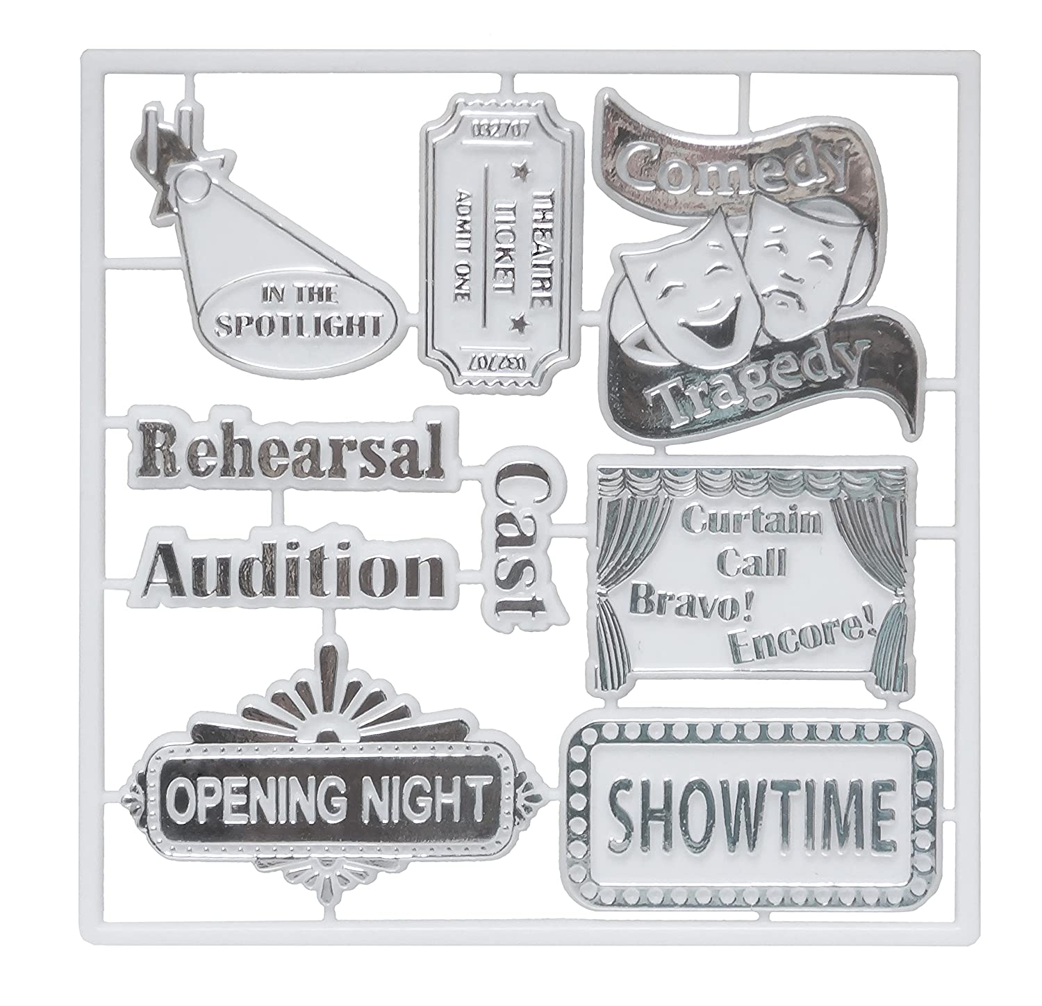 ACI PARTY AND SPIRIT ACCESSORIES 9 Piece Drama Trinket Pack Embellishments Package Plastic with Metallic Silver Print, White 227701 DRAMA PACK SILVER