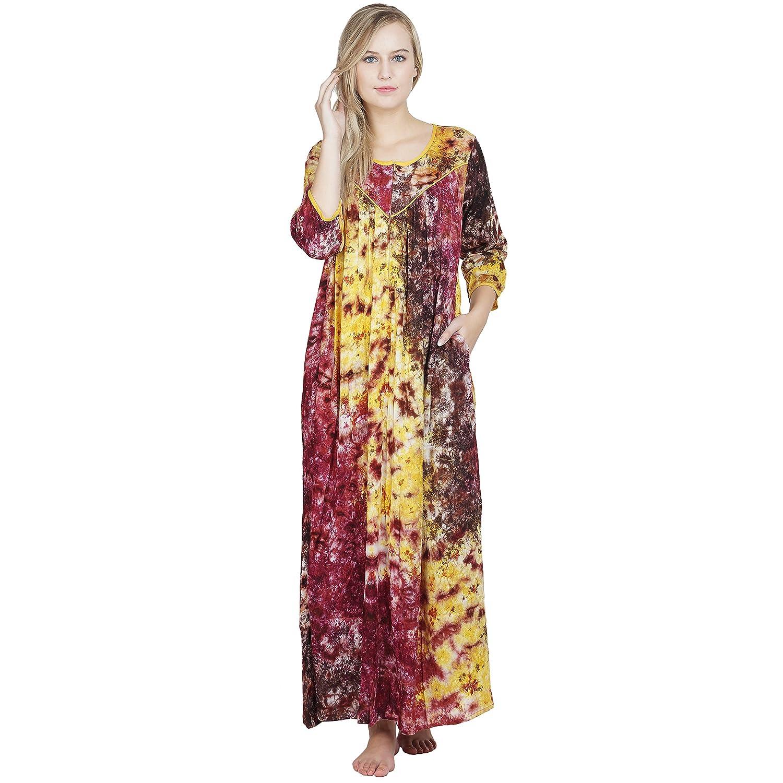 ee4b1be25c Patrorna Women s A Line Nighty Night Dress GownIn Yellow Print(Size ...