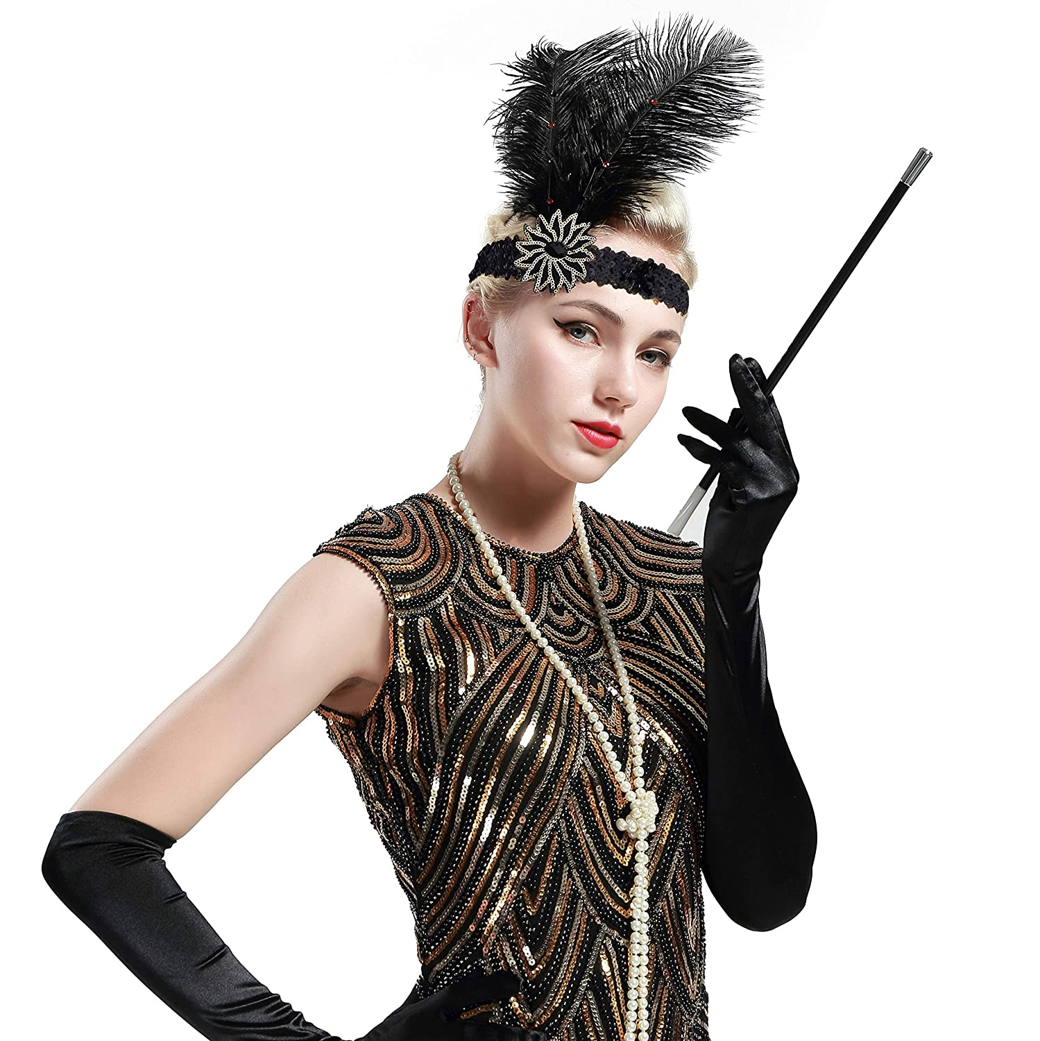 1920s Accessories: Feather Boa, Cigarette Holder, Flask BABEYOND 1920s Flapper Headband Roaring 20s Sequined Showgirl Headpiece Great Gatsby Headband with Black Feather $10.99 AT vintagedancer.com