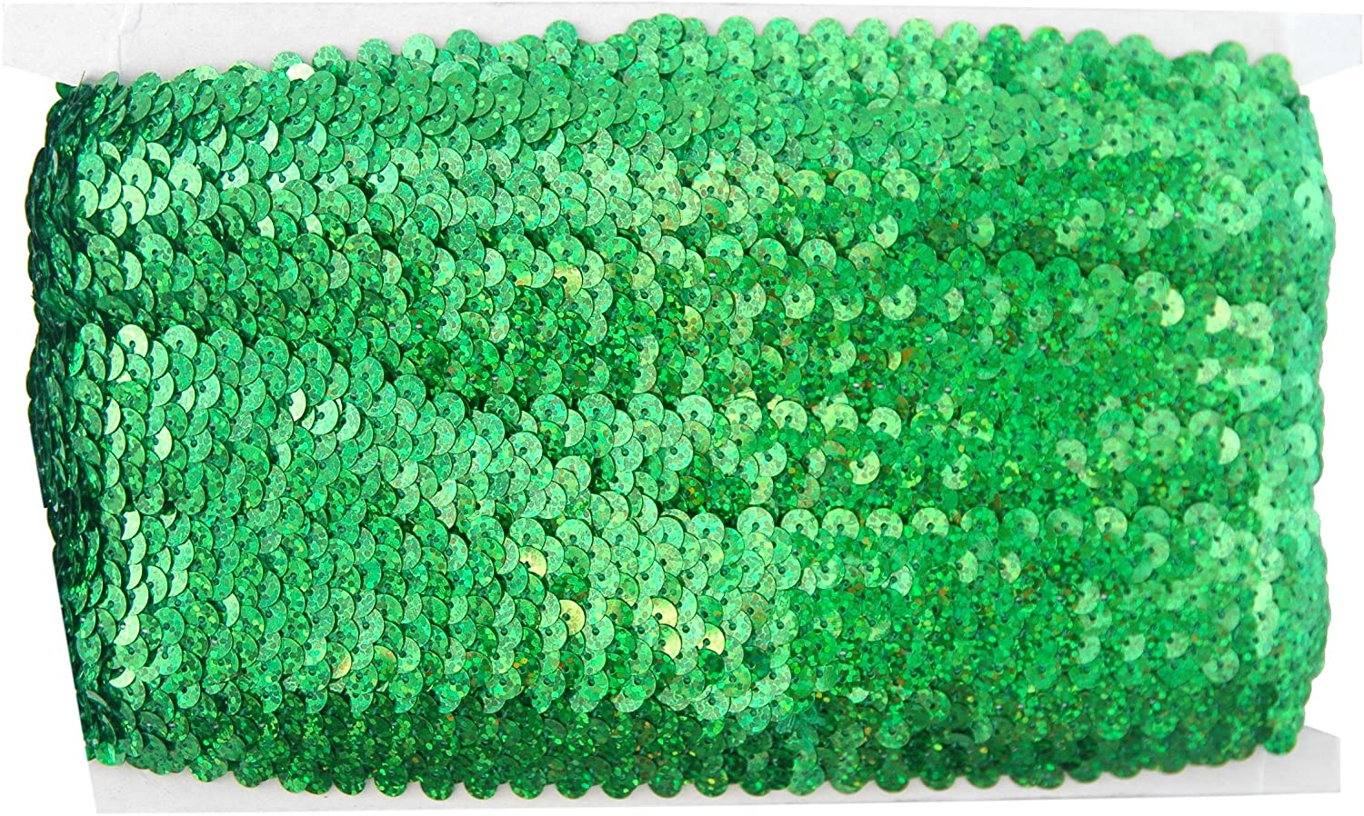 Red 1.5 Wide 11yd Length Stretch Sequin Trim Roll Available in 18 Colors Threadart 2 Widths
