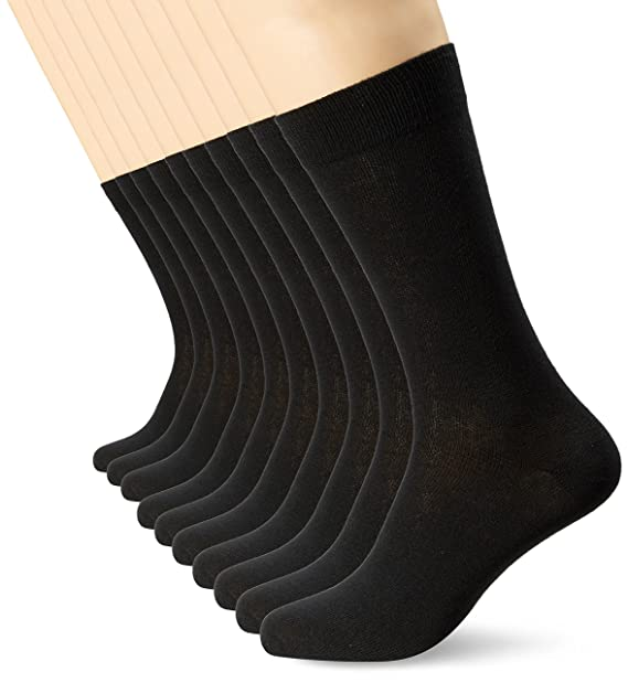 Mens Black Socks (10 Pack) FM· Smart, Comfortable, Breathable Mens Socks, Size US 7-12 at Amazon Mens Clothing store: