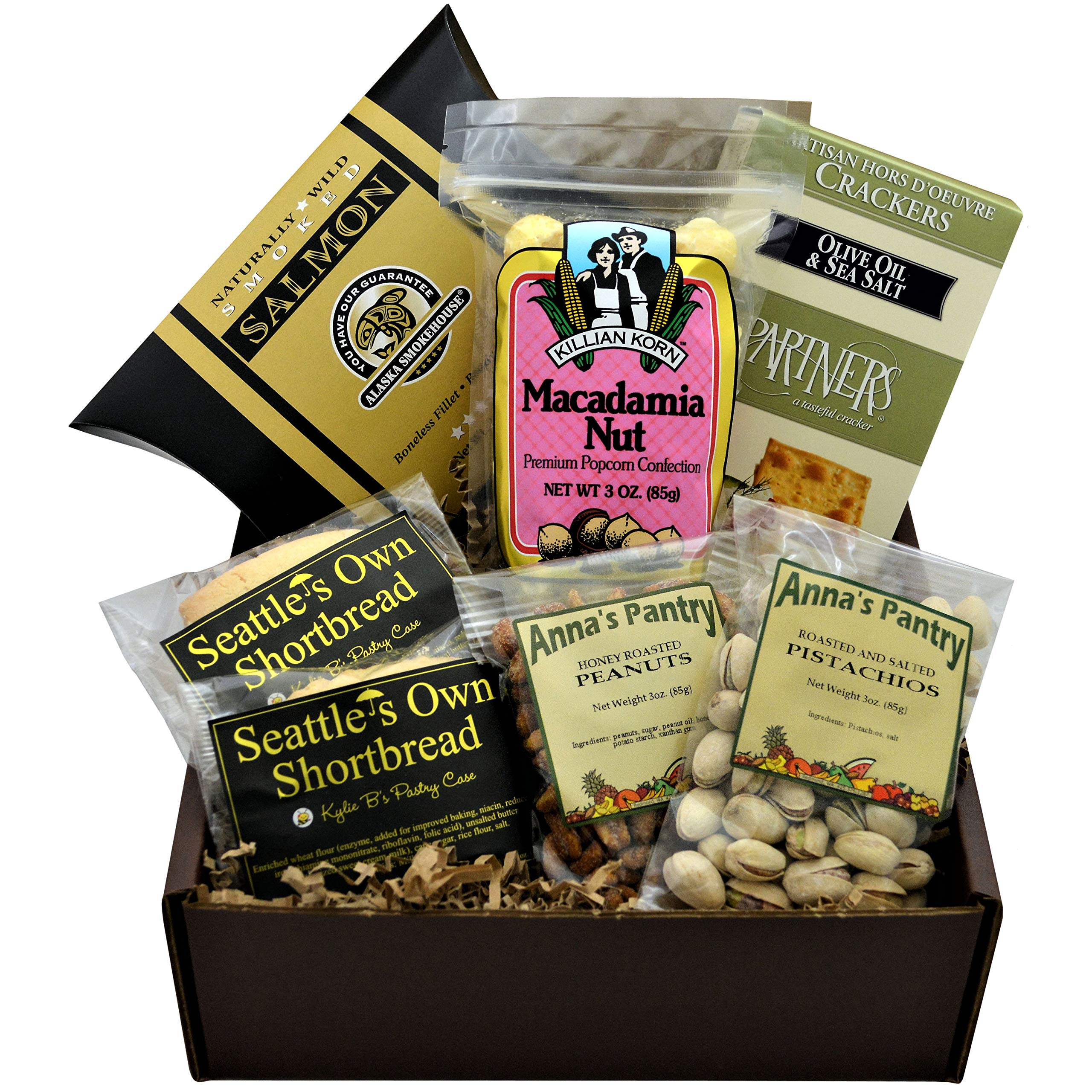 Sweet and Savory Gift Box featuring Smoked Salmon, Crackers, Pistachios, Honey Roasted Peanuts, Shortbread Cookies, and Macadamia Nut Popcorn