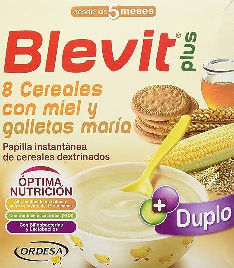 Blevit Plus Duplo 8 Cereales con Miel y Galletas Maria - Paquete de 2 x 300