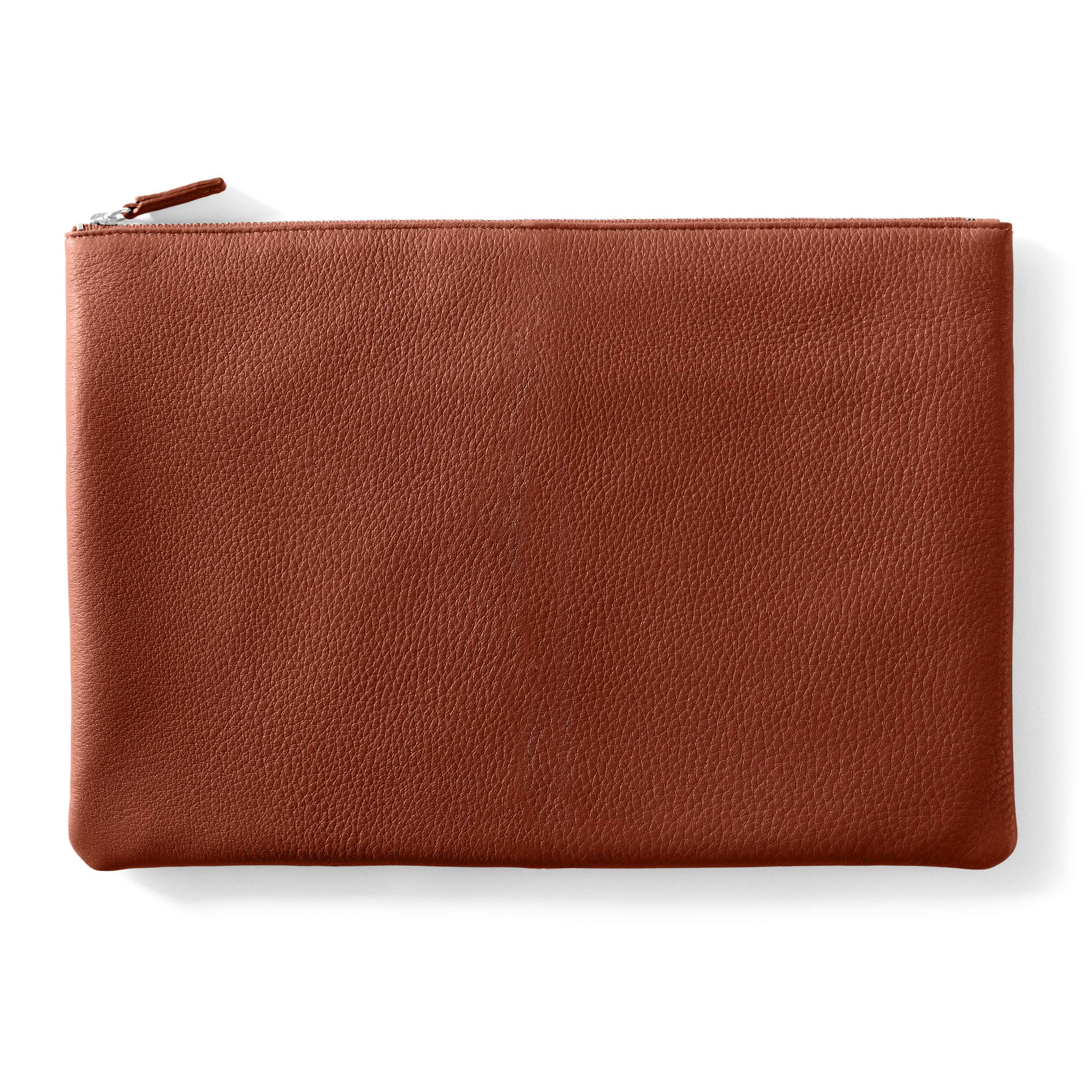 Large Pouch - Full Grain Leather Leather - Terracotta (Orange)
