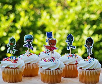 Image Unavailable Not Available For Color PJ Masks Birthday Party Cupcake Toppers
