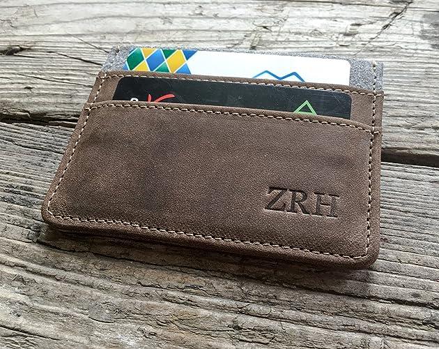Amazon leather front pocket wallet monogram personalized leather front pocket wallet monogram personalized minimalist card holder wallet business card case customized colourmoves