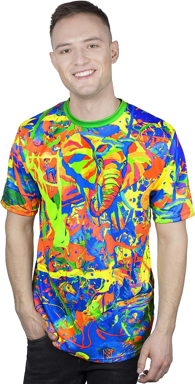 aofmoka Neon Blacklight Designed Printed Short Sleeve Men T-Shirt