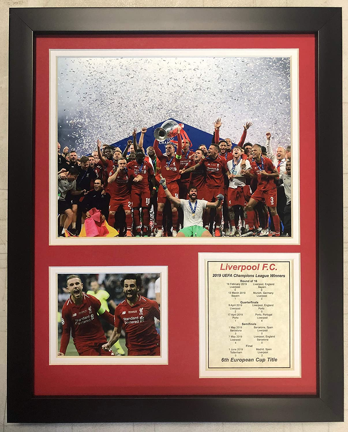 "Liverpool FC 2019 UEFA Champions League Champions Collectible | Framed Photo Collage Wall Art Decor - 12"" x 15"" 