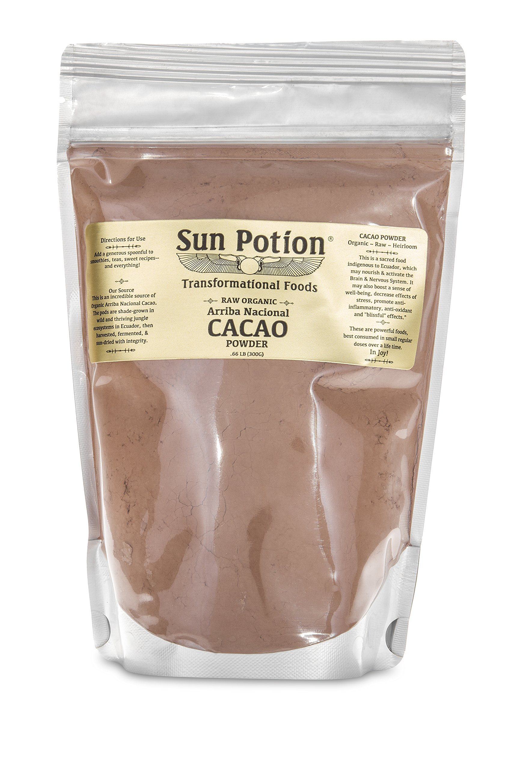 Cacao Powder by Sun Potion - Raw Premium Arriba Nacional - Unsweetened Cocoa Superfood and Supplement - Dark Chocolate Beans - 300g Pouch