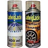 Sprayset für VW Schwarz Farbcode L041 oder A1 oder A1A1 Baujahr 1978 - 2007 Unilack * 2 Spraydosen Ludwiglacke Lack Spray im Set - Eine Spraydose Basislack 400 ml und eine Dose Klarlack glänzend 400ml. Beide Spraydosen enthalten 1K Autolack.