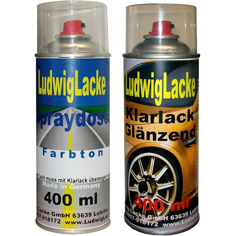Sprayset fü r BMW Diamantschwarz Farbcode 181 Baujahr 1984 - 1996 Metallic Lack * 2 Spraydosen Ludwiglacke Lack Spray im Set - Eine Spraydose Basislack 400 ml und eine Dose Klarlack glä nzend 400ml. Beide Spraydosen enthalten 1K Autolack.