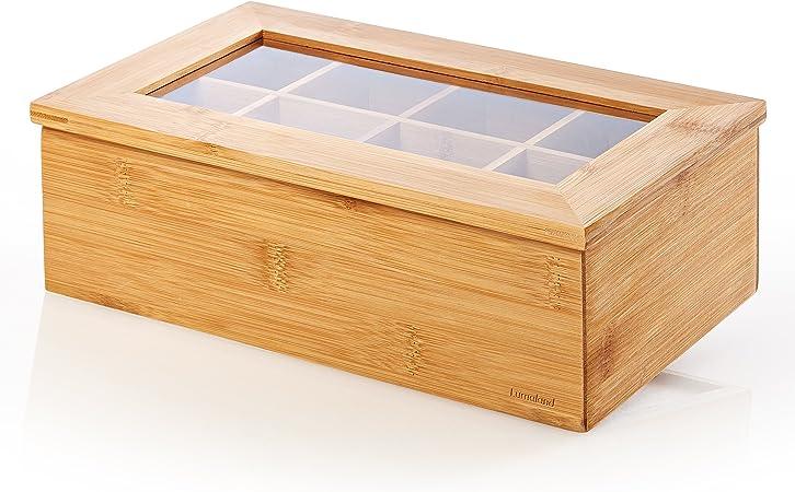 Imagen deLumaland Cuisine Caja de té de bambú con 8 compartimentos de aprox 28 x 16 x 9 cm material sostenible práctico y decorativo