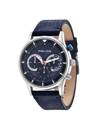 police men s quartz watch blue dial chronograph display and police men s quartz watch blue dial chronograph display and blue leather strap 14383js 03