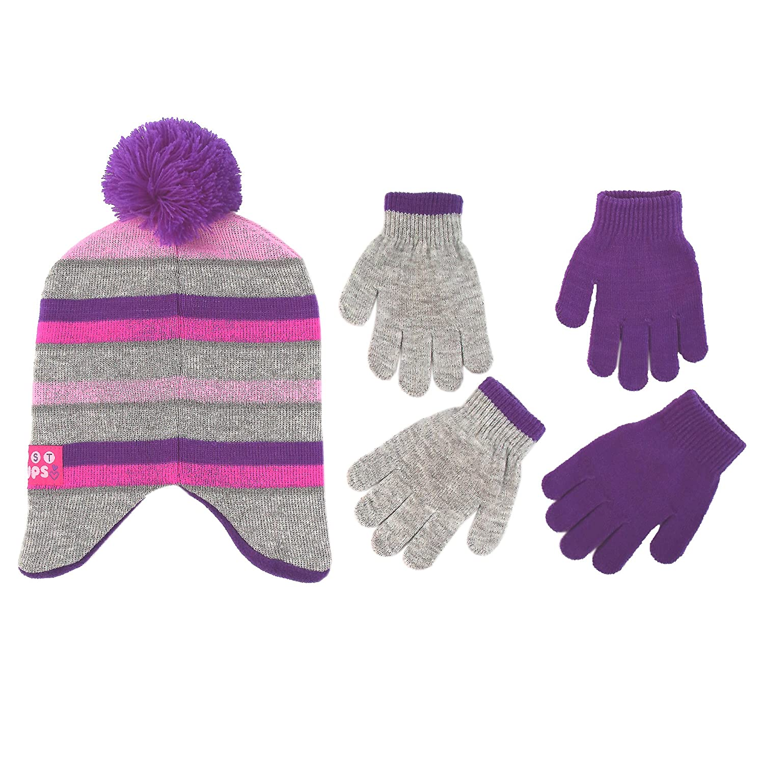 Little Girls Age 4-7 Hat /& 2 Pair Gloves Set, Grey//Purple Nickelodeon Little Girls Paw Patrol Character Hat and 2 Pair Mittens or Gloves Cold Weather Set Age 2-7