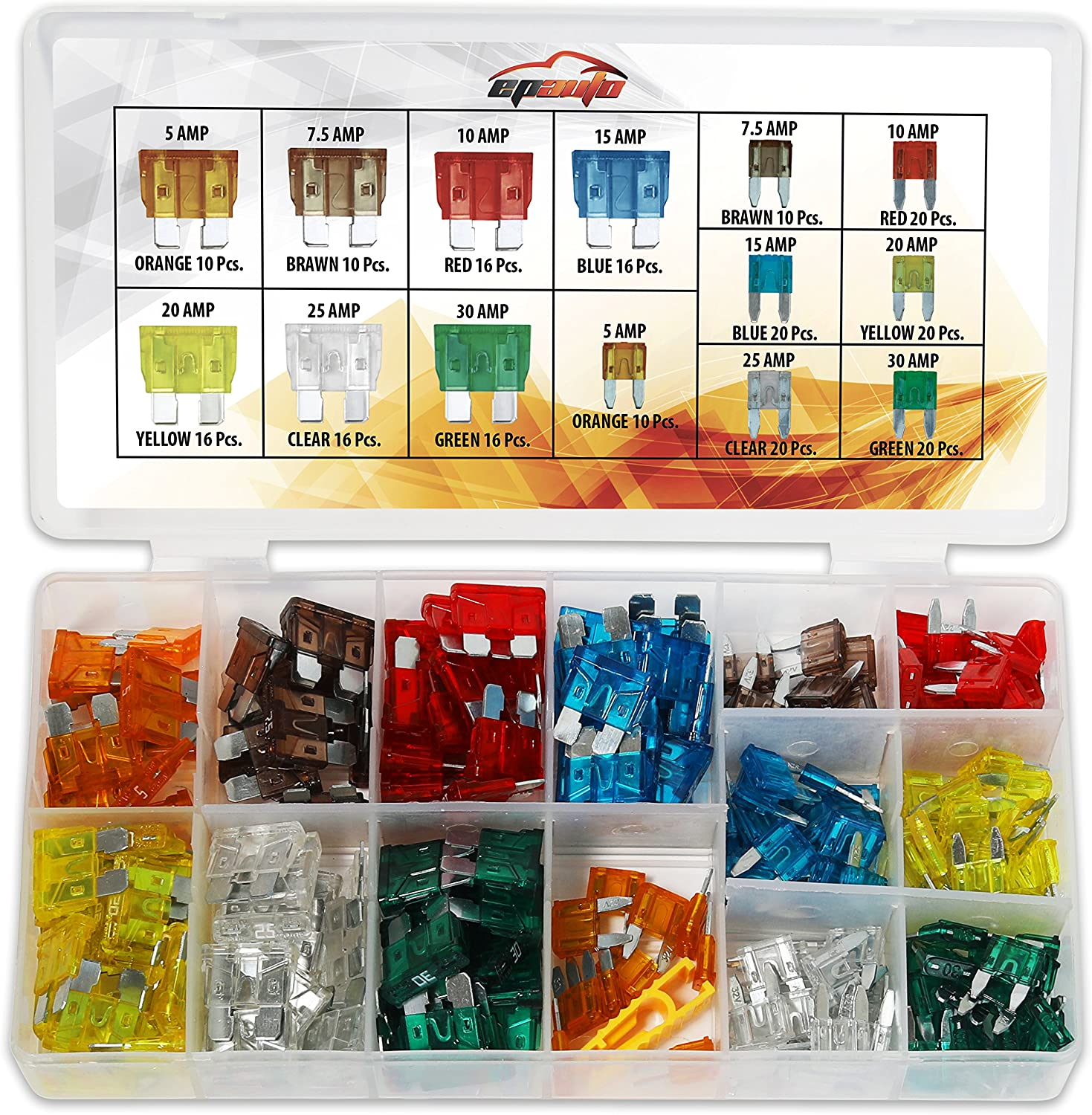 200Pcs 10 Types Car Vehicle Fuse Set Boxed Assorted 20mm Fast Blow Fuses Full Kit 0.5A-10A Automotive Cartridge Fuse
