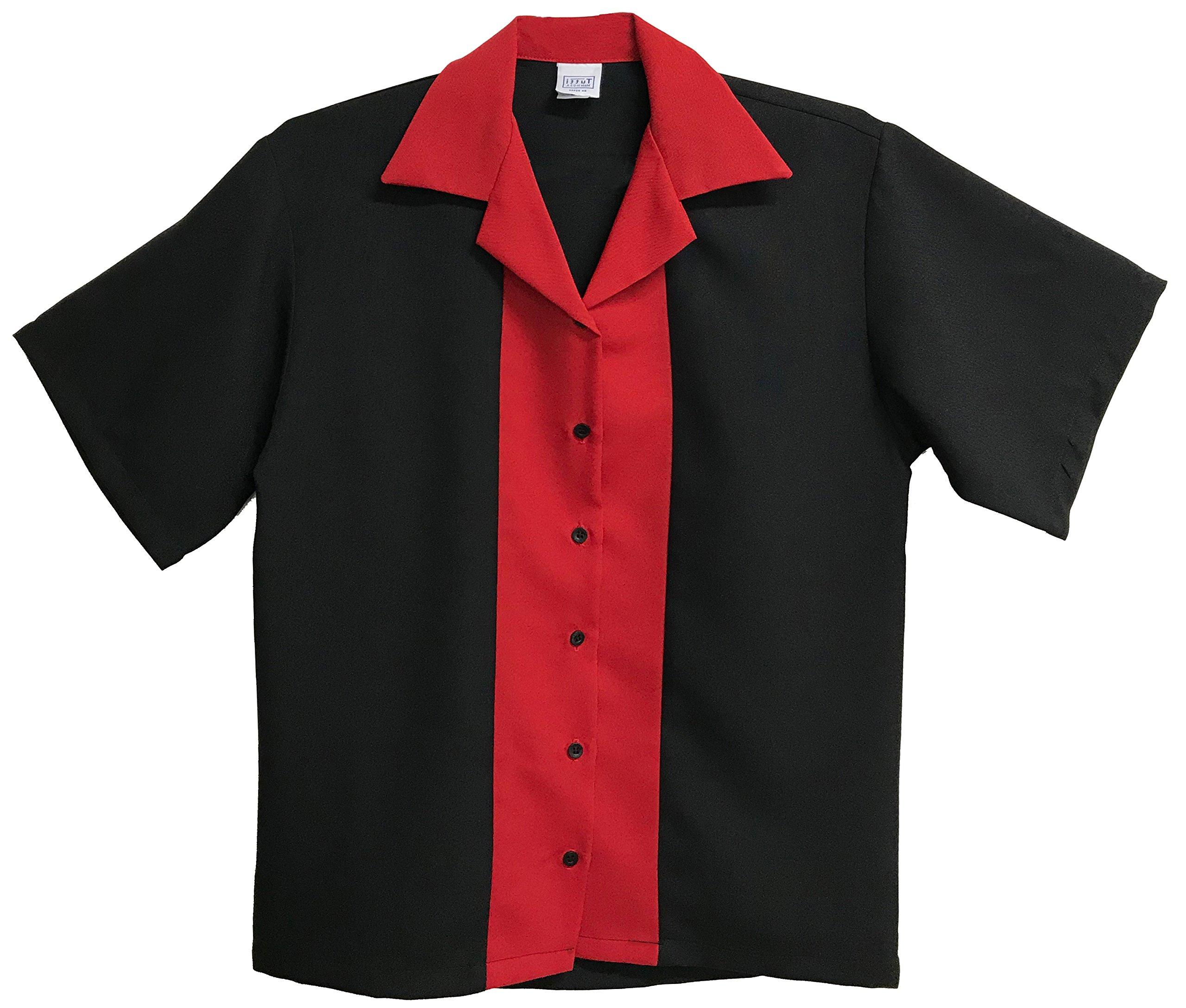 Tutti Ladies Retro Bowling Shirt 50's Style ~ Classic 57 Womens Bowling Shirts (Small) Red