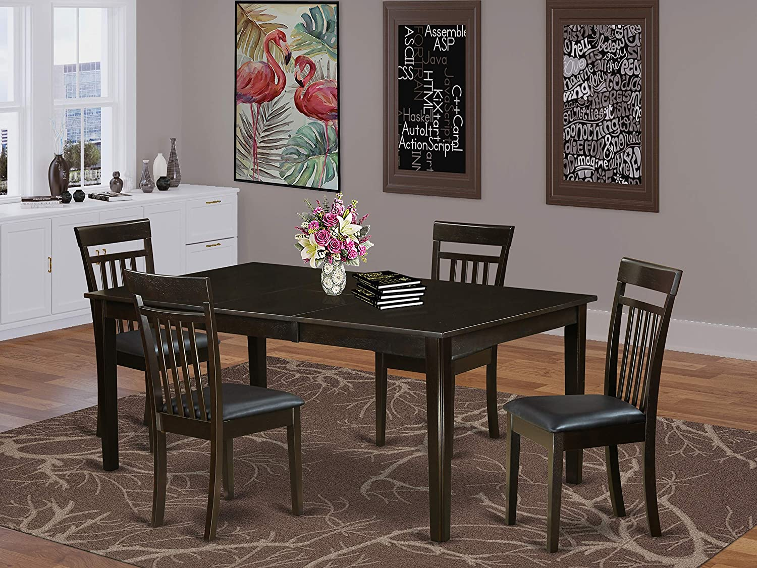 East West Furniture HLaV5-LWH-W 5-Piece Table and Chairs Dining Set Included a Round Dining Table and 4 Kitchen Chairs - Solid Wood Dining Chairs Seat & Slatted Back - Linen White Finish
