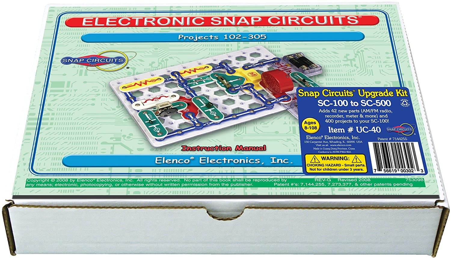 Sc100 Snap Circuits Jr Manual Electronic And Pololu Additional Parts Included With 300in1 500 Amazoncom Uc 40 Upgrade Kit Sc 100 To Toys Games