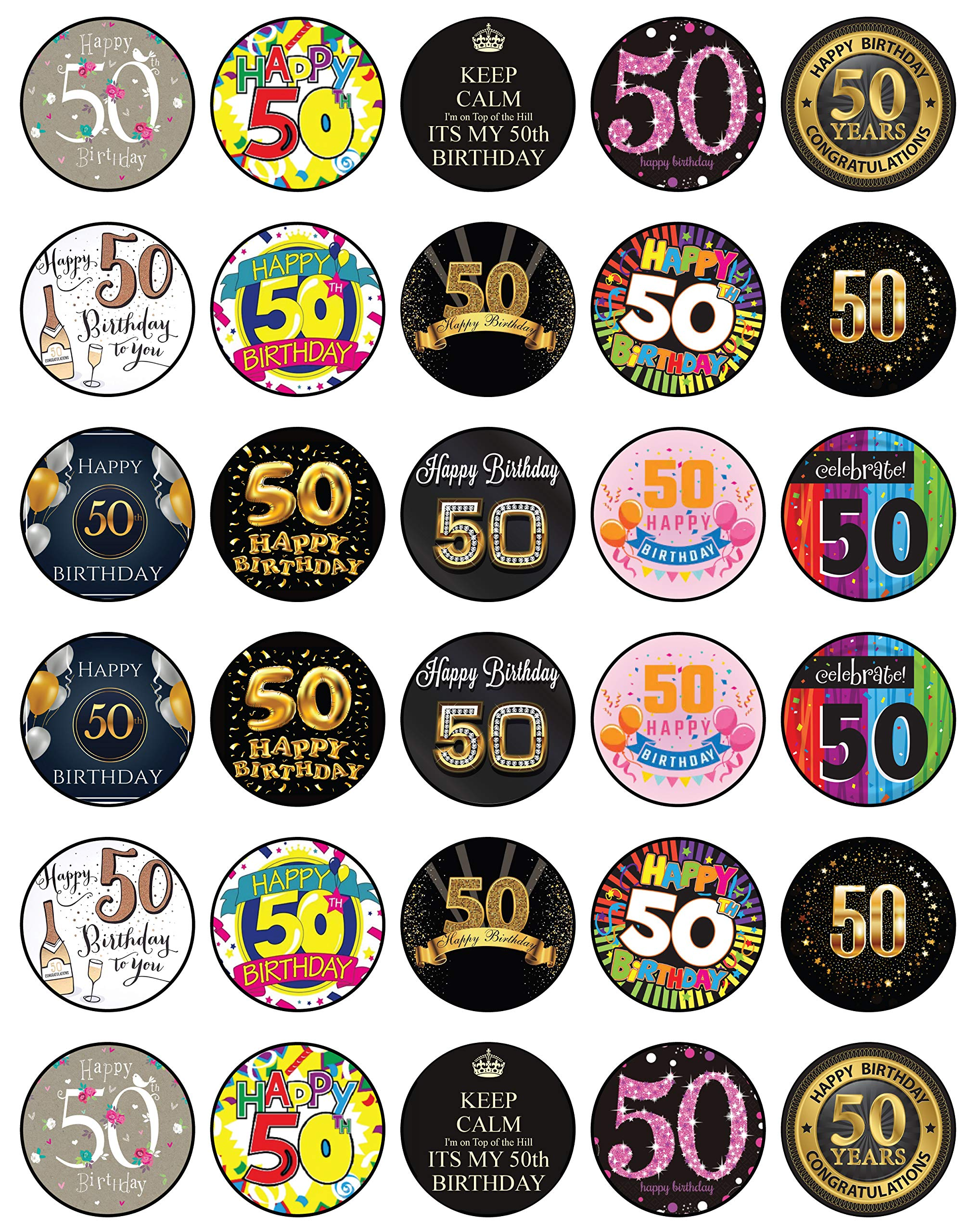 30 x Edible Cupcake Toppers - 50th Birthday Party Collection of Edible Cake Decorations | Uncut Edible Prints on Wafer Sheet