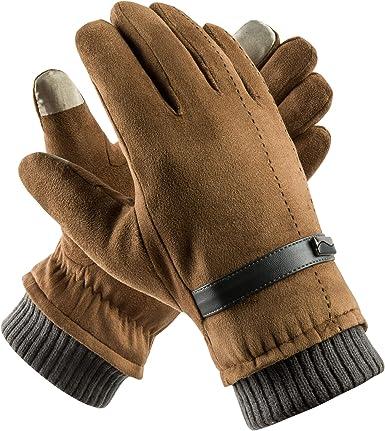 Men/'s Winter Warm Gloves Leather Touch Screen Windproof Driving Fleece Gloves