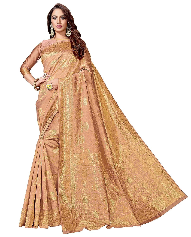 Copper Color Art Silk Saree With Blouse Piece