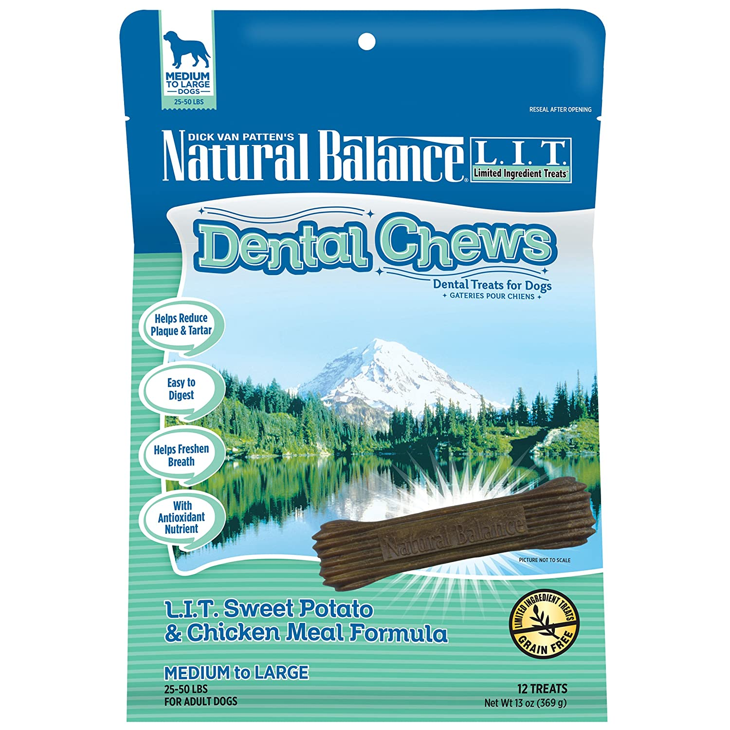 Natural Balance Dental Chews Dog Treats, L.I.T. Limited Ingredient Treats Sweet Potato & Chicken Meal Formula, Grain Free, For Medium Dogs, 13-Ounce