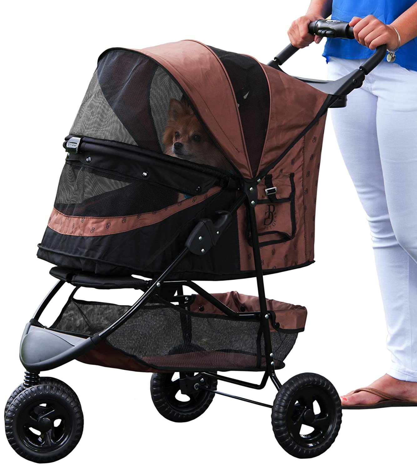 Pet Gear No-Zip Special Edition Pet Stroller, Zipperless Entry, Brown Rear safety brakes/front shock absorbers