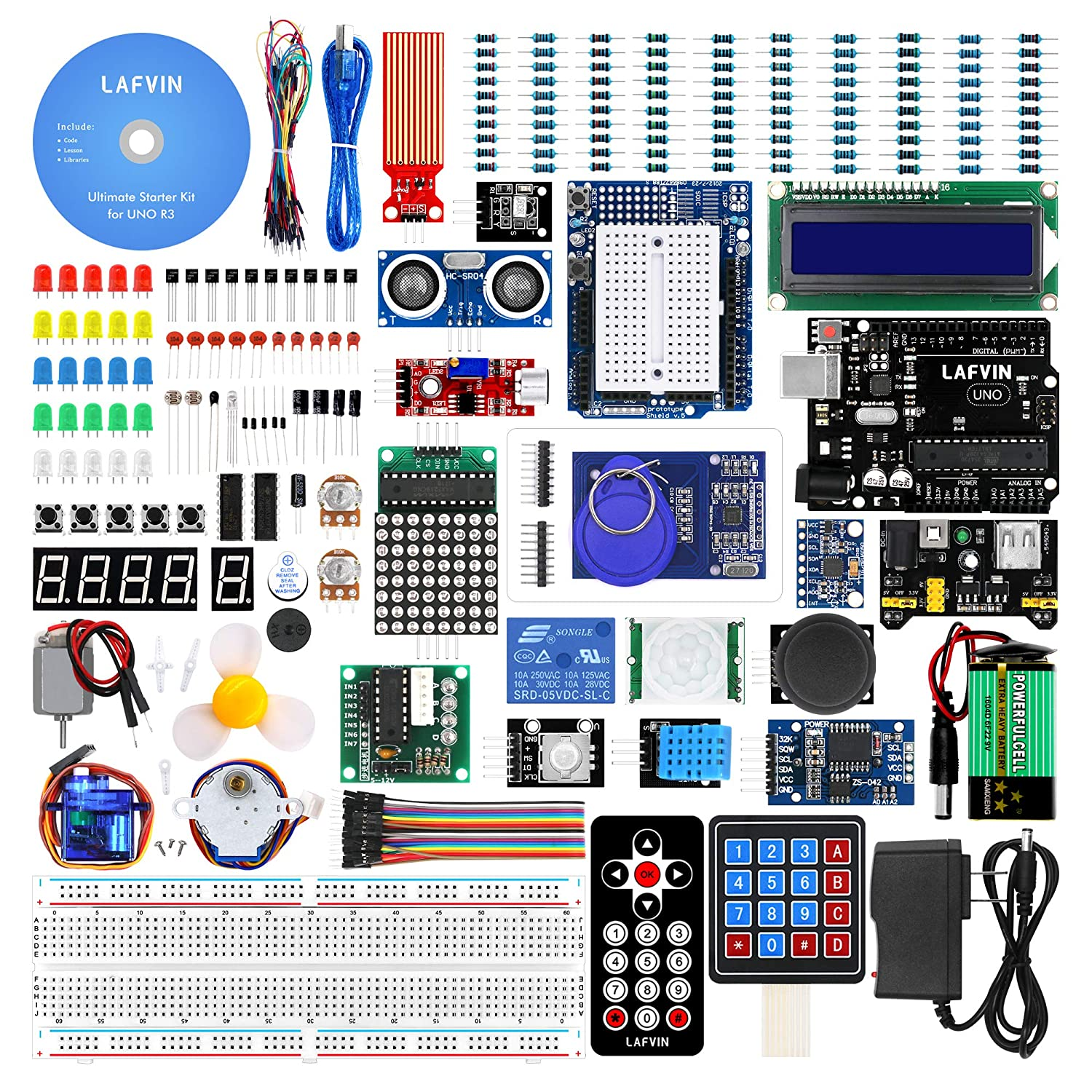 Lafvin Uno Ultimate Starter Kit For Arduino R3 Mega2560 Mega328 Circuit Componnent Data Lesson And Etc Symbols Nano With Tutorial Computers Accessories