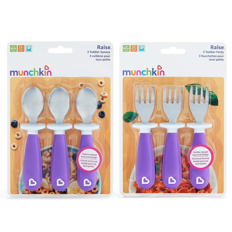 Munchkin morado//rosa pack de 4 Tenedores y Cucharas Raise