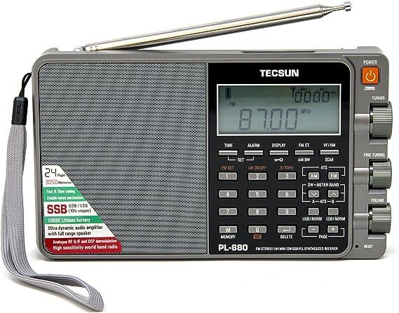 Tecsun PL-880 Receptor radio multibanda con AM, FM estéreo, SW, LW y SSB