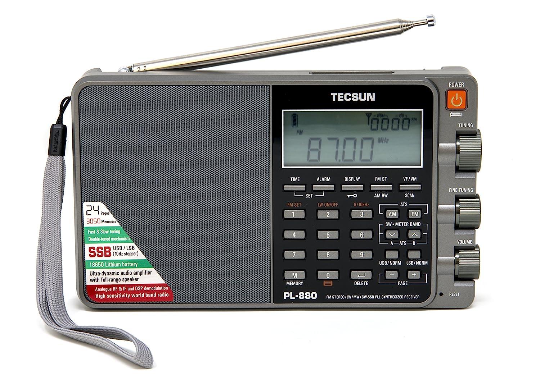 Tecsun PL880 Portable Digital PLL Dual Conversion AM/FM, Longwave & Shortwave Radio with SSB (Single Side Band) Reception, Color Silver
