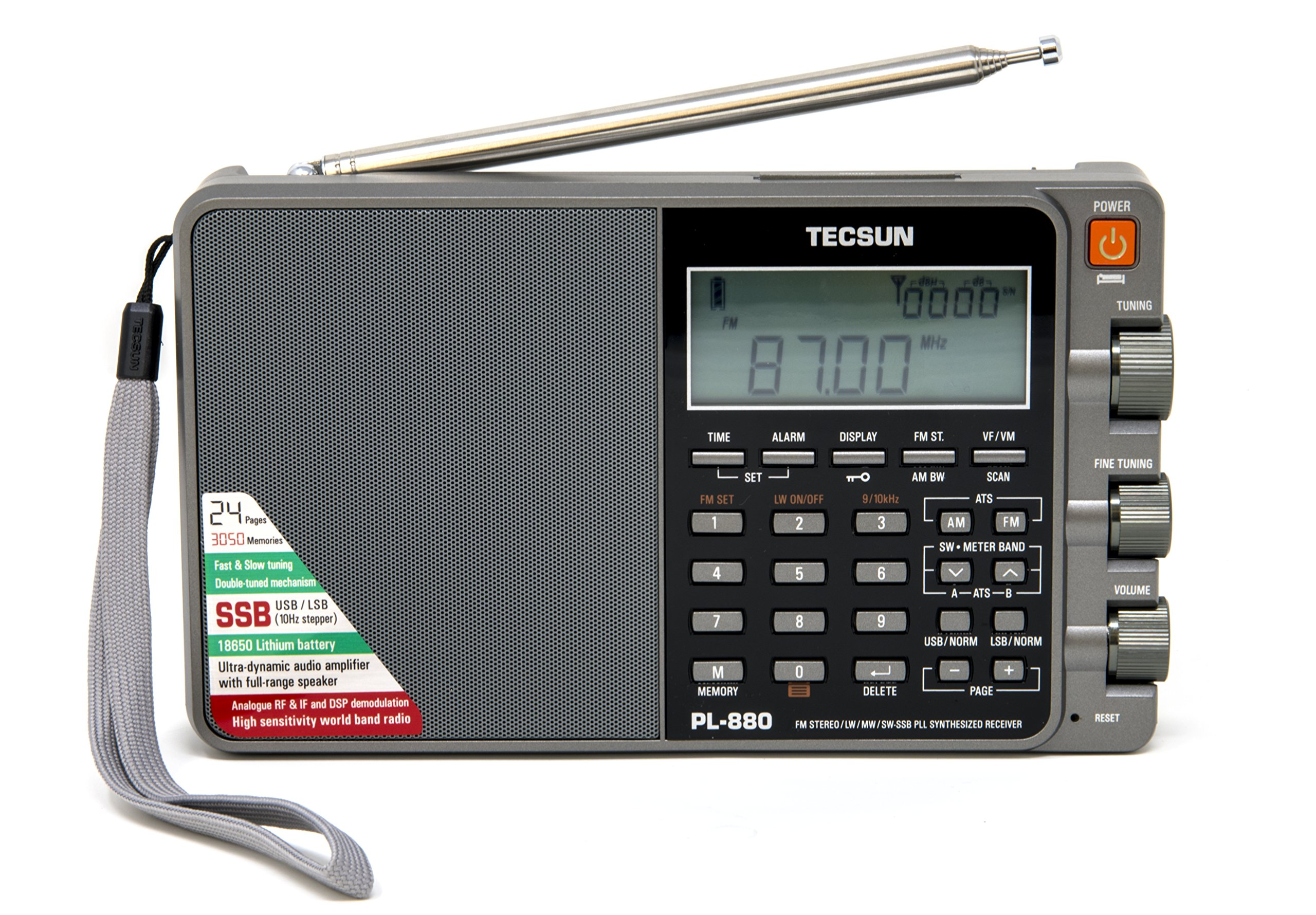 Tecsun PL880 Portable Digital PLL Dual Conversion AM/FM, Longwave & Shortwave Radio with SSB (Single Side Band) Reception, Color Silver by Tecsun