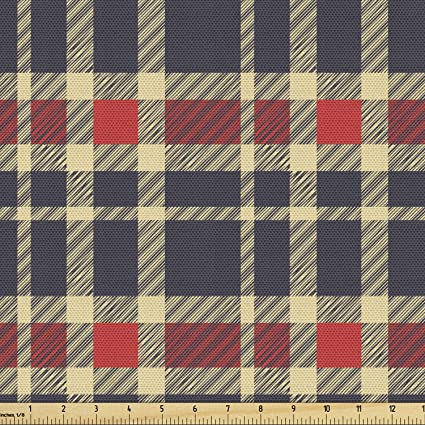 Blue Green 2 yards 50/% cotton 50/% polyester Vintage Plaid Fabric
