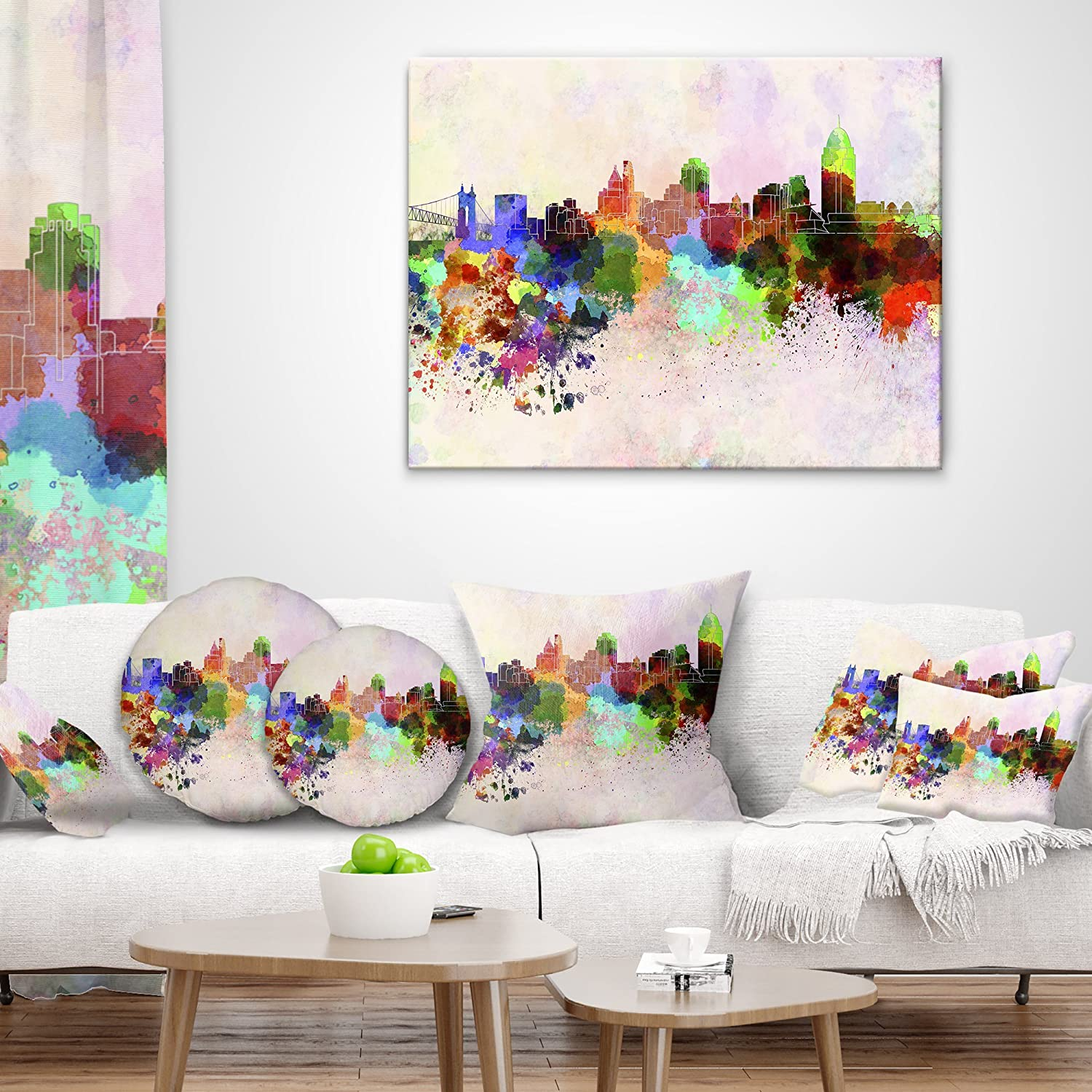 X 18 In Designart Cu6595 18 18 Cincinnati Skyline Cityscape Cushion Cover For Living Room In Sofa Throw Pillow 18 In Home Kitchen Decorative Pillows Inserts Covers