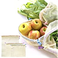 Reusable Produce Bags - GOTS Organic Cotton Mesh Bag Set for Grocery Shopping in Gift Box - Eco Friendly 100% Plastic Free Zero Waste - Keep Food Fresh - Pastel Colour Drawstring - Small Medium Large