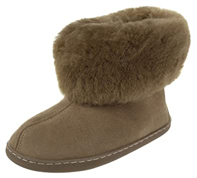 d142cf9db335 Vogar Womens Sheepskin Leather Furry Ankle Slippers VG-11M Boots Sheep Wool  Lined