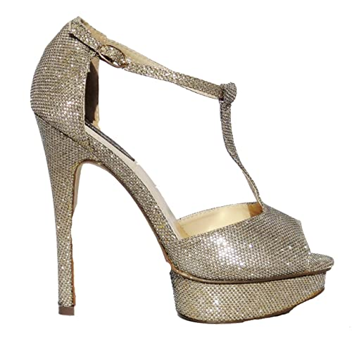 95e2ddf1f20 Dorothy Perkins Womens Gold Platform High Heel Occasion Party Shoes UK 6