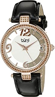 Burgi Womens Swarovski Crystal Accents Watch - Engraved Sunburst Guilloche Center Dial with See Thru Border