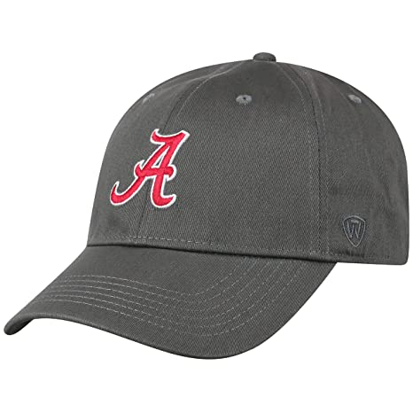 more photos ab928 3b246 Top of the World NCAA Alabama Crimson Tide Men s Fitted Relaxed Fit Charcoal  Icon Hat,