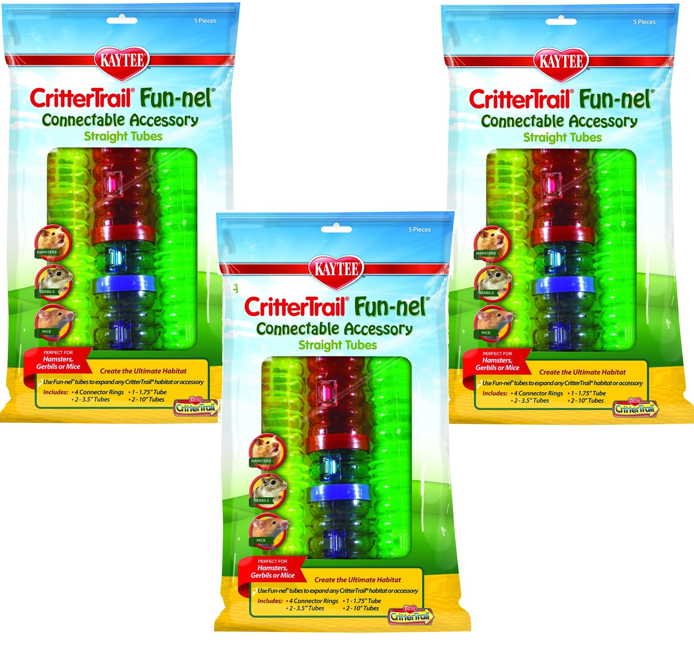 KT (3 Packages) CritterTrail Fun-nels Tubes - Straight Tube Value Packs by KT