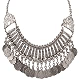 Zephyrr Fashion Coin Choker Turkish Silver Metal Choker Necklace for Women and Girls