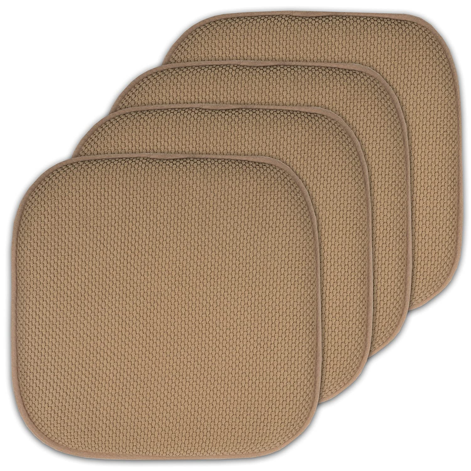 "Sweet Home Collection 4 Pack Memory Foam Honeycomb Nonslip Back 16"" x16"" Chair/Seat Cushion Pad - CPMF-4PK-TAUPE"