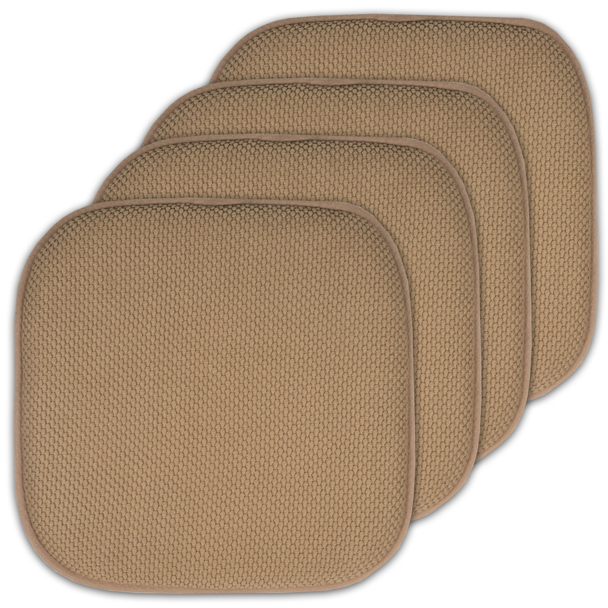 Sweet Home Collection 4 Pack Memory Foam Honeycomb Nonslip Back 16'' x16'' Chair/Seat Cushion Pad