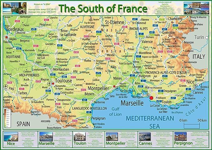 Cartina Geografica Del Sud Della Francia.Mappa Del Sud Della Francia Carta Plastificata A2 Clear Amazon It Cancelleria E Prodotti Per Ufficio