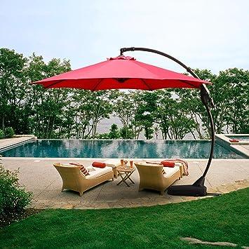 Grand patio Offset sombrilla para Patio, 11 pies, Curvada, de Aluminio, con Base, Color champán: Amazon.es: Jardín
