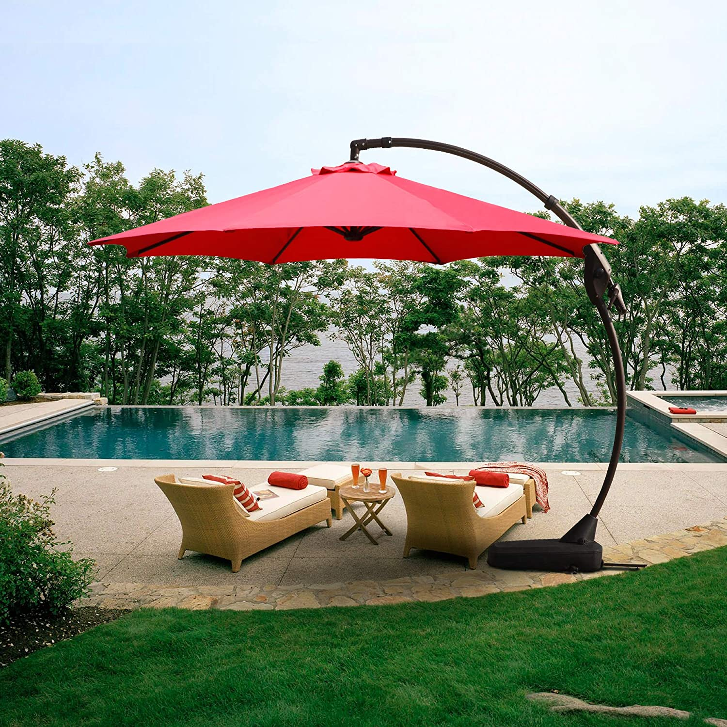 Grand patio Offset Patio Umbrella 12 FT Curvy Outdoor Aluminum Cantilever Umbrella with Base,Brick Red