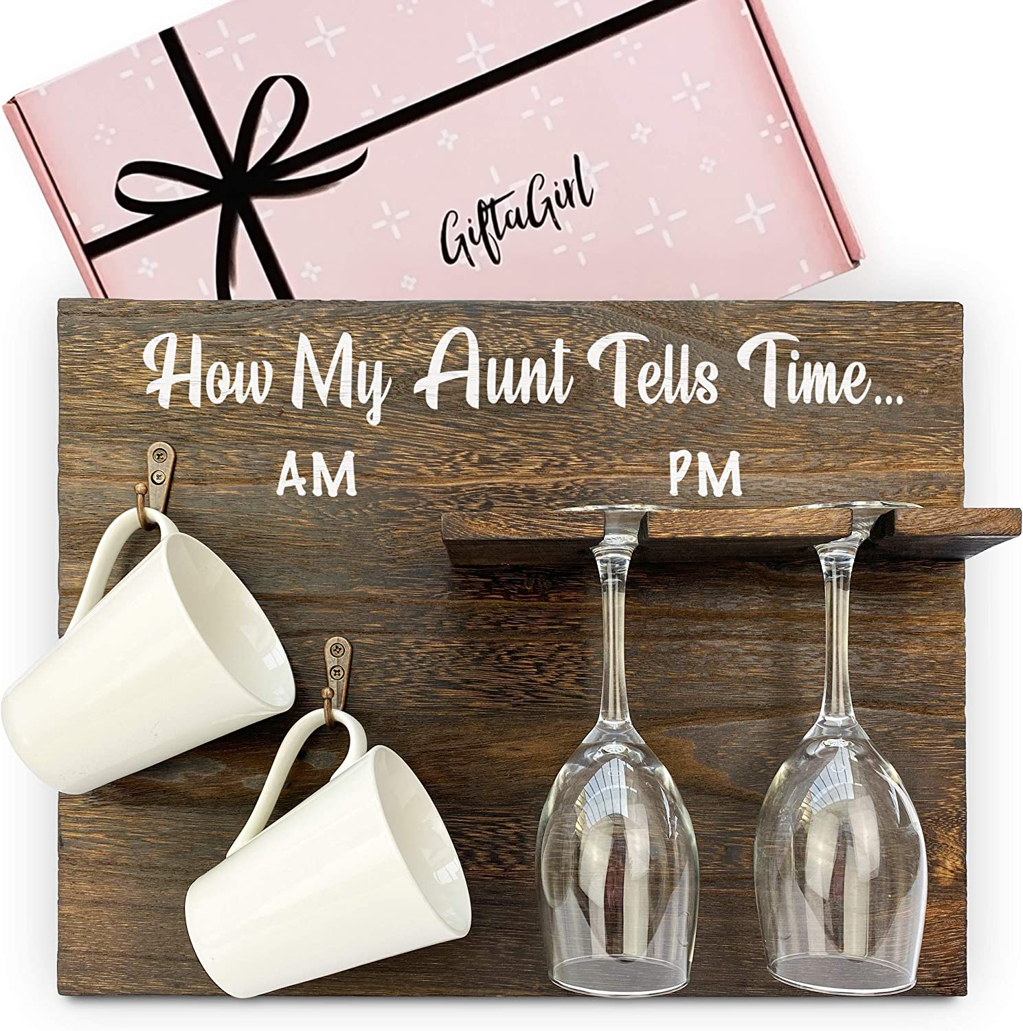 GIFTAGIRL Aunt Gifts from Niece or Aunt Gifts from Nephew - Wine Gifts for Women Like our How My Auntie Tells Time Wine Gift, make Ideal Aunt Gifts. Funny Wine Gifts make Best Aunt Ever Gifts for 2020