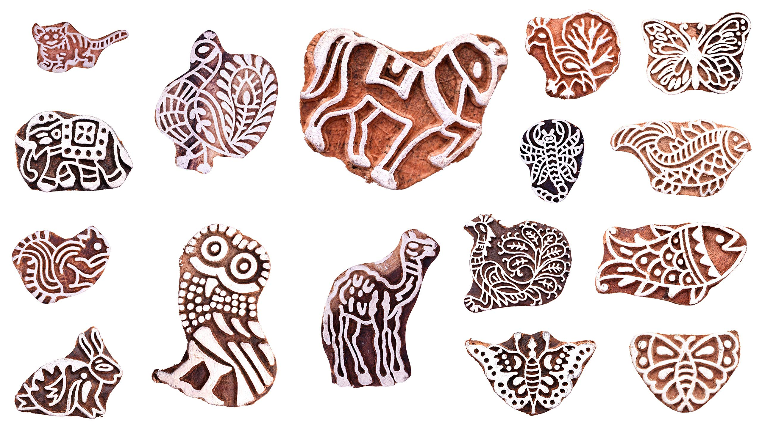 Handicraft-Palace Wooden Block Stamps Handcarved Designer Craft Printing Pattern for Saree Border Henna Textile Printing Scrapbooking Pottery Crafts Wall Painting Indian (5 pc Set)