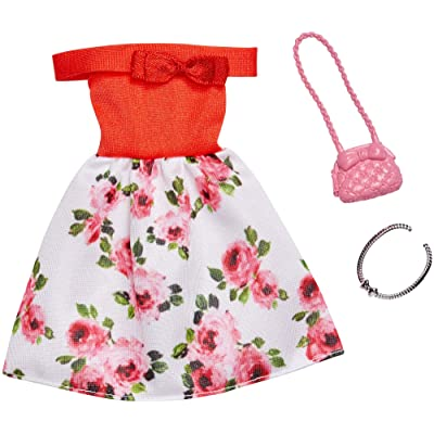 Barbie Complete Looks Doll Clothes, Outfit Dolls Featuring Off-Shoulder Red and Floral Dress and 2 Accessories, Gift for 3 to 8 Year Olds: Toys & Games